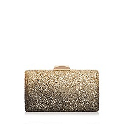 Quiz Gold And Black Ombre Glitter Box Clutch Bag