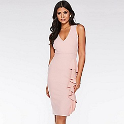 Quiz - Dusky pink v neck frill midi dress