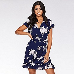 Quiz - Navy and pink floral wrap dress