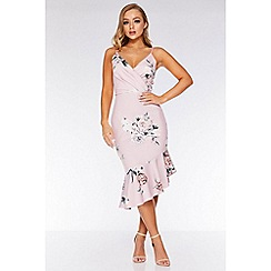 Quiz - Pink Floral Asymmetric Midi Dress