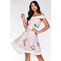 Quiz - Pink Floral Wrap Dip Hem Dress