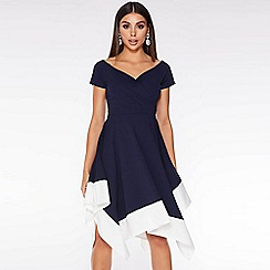 Quiz - Navy and Cream Bardot Asymmetric Midi Dress