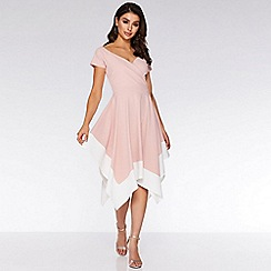 Quiz - Pink and Cream Bardot Asymmetric Midi Dress