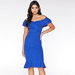 Quiz - Royal Blue Bardot Frill Midi Dress