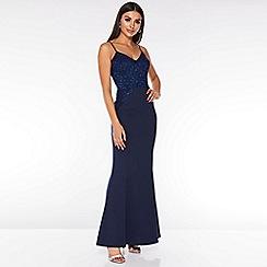 Quiz - Navy Sequin Lace Maxi Dress