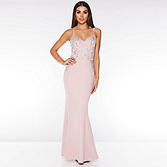 Quiz - Blush Pink Sequin Lace Maxi Dress