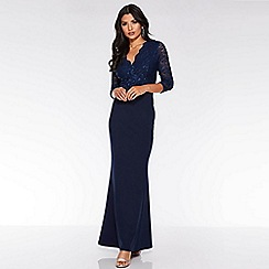 Quiz - Navy Sequin Lace 3/4 Sleeve Maxi Dress