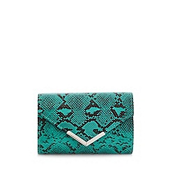 Quiz - Teal green snake print clutch bag