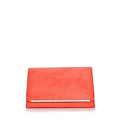 Quiz - Coral faux suede clutch bag