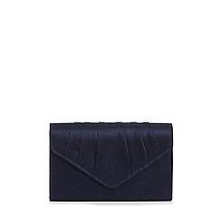 Quiz - Navy Satin Pleated Envelope Bag