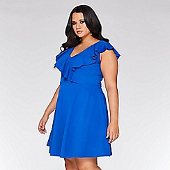 Quiz - Curve royal blue v neck skater dress