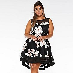 Quiz - Curve Stone And Black Floral Mesh Dip Hem Dress