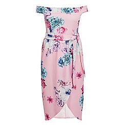 Quiz - Curve Pink Bardot Floral Midi Dress