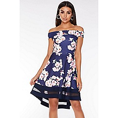 Quiz - Navy Pink and Cream Floral Bardot Dip Hem Dress