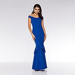 Quiz - Royal blue bardot fishtail maxi dress