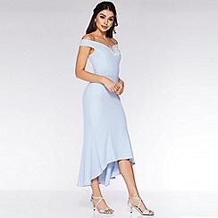 Quiz - Pale Blue and Cream V Bar Fishtail Midi Dress