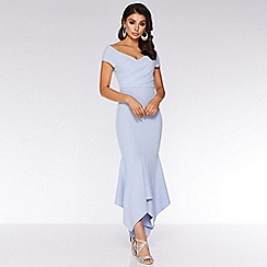 Quiz - Light blue wrap bardot maxi dress