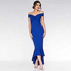 Quiz - Royal Blue Wrap Bardot Maxi Dress