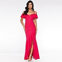 Quiz - Hot Pink Cold Shoulder Frill Maxi Dress