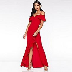 Quiz - Red Cold Shoulder Frill Maxi Dress