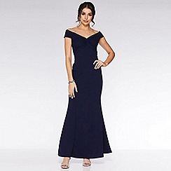 Quiz - Navy Bardot Knot Front Maxi Dress