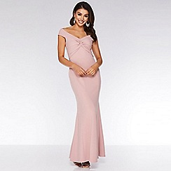 Quiz - Blush Pink Bardot Knot Front Maxi Dress