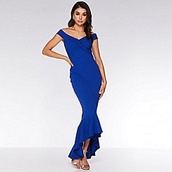 Quiz - Royal Blue Bardot Knot Front Maxi Dress