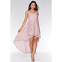 Quiz - Pink Crochet Dip Hem Skater Dress
