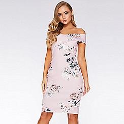 Quiz - Dusky Pink Floral Print Bardot Midi Dress