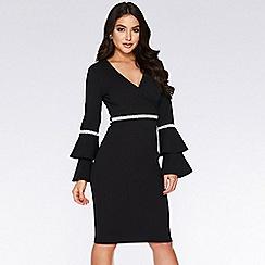 Quiz - Black double frill sleeve midi dress