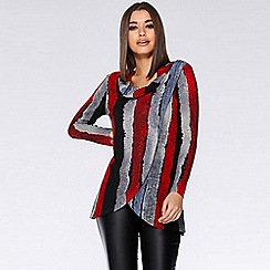 Quiz - Red black and grey light knit stripe top