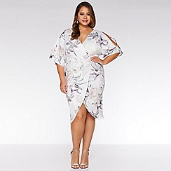Quiz - Curve Grey and Pink Floral Wrap Midi Dress