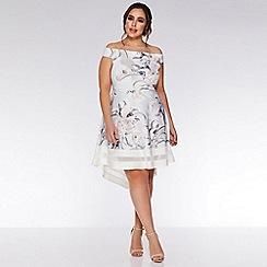 Quiz - Curve Grey and Pink Floral Bardot Dress