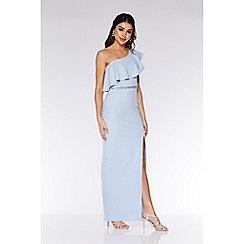 Quiz - Blue Asymmetric Diamante Waistband Maxi Dress