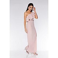 Quiz - Blush Asymmetric Diamante Waistband Maxi Dress