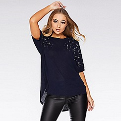 Quiz - Navy Embellished Batwing Top