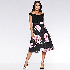 Quiz - Black and pink bardot floral dress