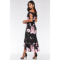 Quiz - Black and pink bardot floral print fishtail midi