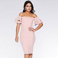 Quiz - Dusky pink bardot double frill midi dress