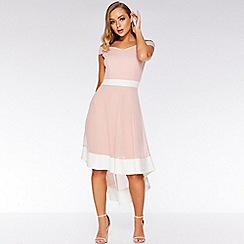 Quiz - Pink and cream bardot mesh dip hem dress