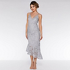 Quiz - Grey lace glitter asymmetric hem maxi dress