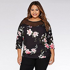 Quiz - Curve Black And Pink Floral Batwing Top