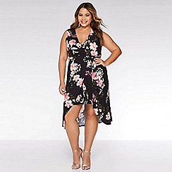 Quiz - Curve Crepe Black Floral Wrap Dress