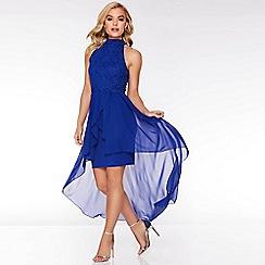 Quiz - Royal Blue Glitter Lace High Neck Dip Hem Dress