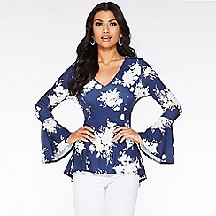 Quiz - Navy and Cream Floral Peplum Top