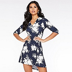 Quiz - Navy and Cream Floral Tunic Dress