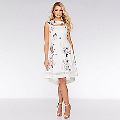 Quiz - Cream and Pink Floral Dip Hem Dress