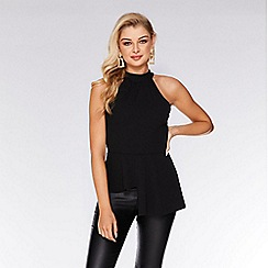 Quiz - Black halterneck peplum top