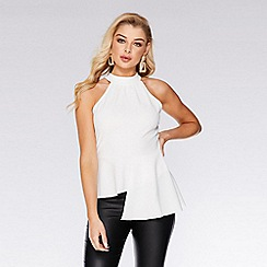 Quiz - Cream halterneck peplum top