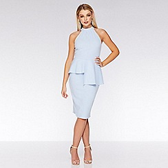 Quiz - Pale blue halterneck peplum midi dress